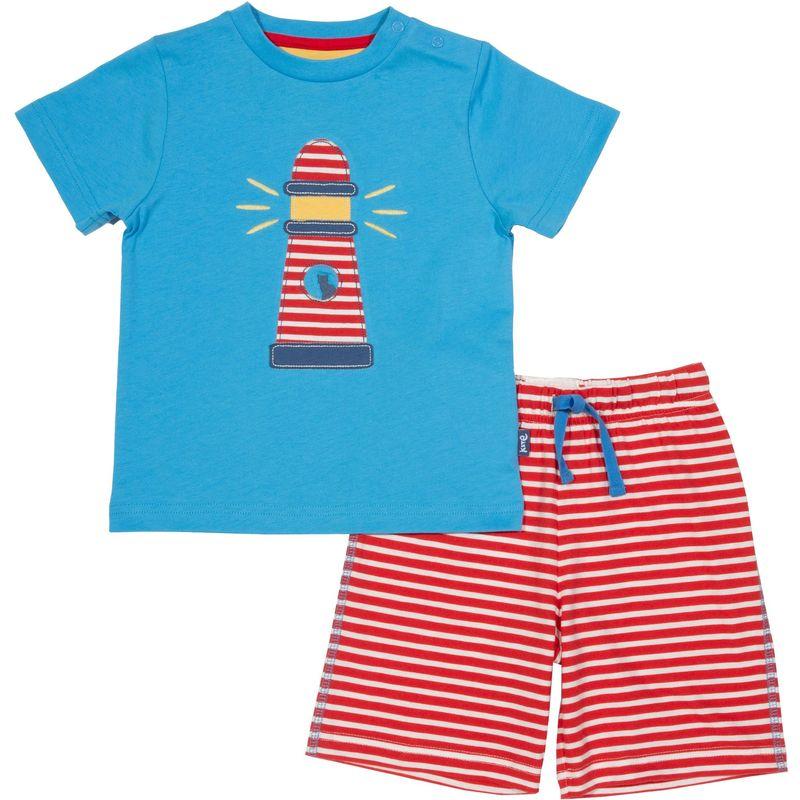 Kite 2 tlg Set T Shirt + Shorts blau und rotweiß Leuchtturm
